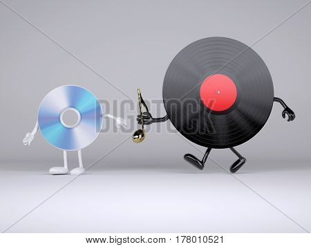 Relay Between Vinyl Record And Compact Disk