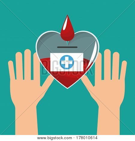 hands with heart blood healthy vector illustration eps 10