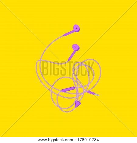 Modern style purple headphones on yellow background. Music earphones with connector and switch controller. Earbuds accessory top view. Vector illustration.