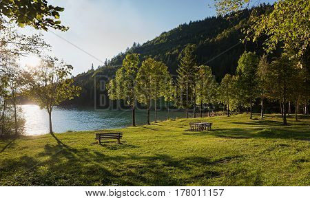 Resting Place With Benches At Lake Shore Walchensee