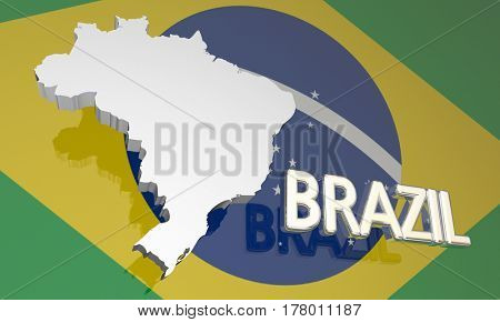 Brazil Country Nation Map South America Flag 3d Illustration