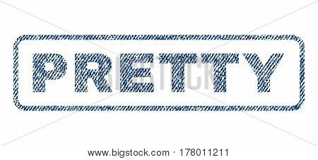 Pretty text textile seal stamp watermark. Blue jeans fabric vectorized texture. Vector tag inside rounded rectangular banner. Rubber sticker with fiber textile structure.