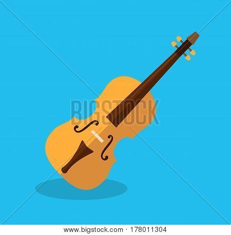 Classical violin in flat style. Violin icon. Vector stock.
