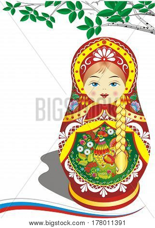 Russian nesting doll in the red outfit. Brown hair. The branch of a birch. Folklore. Vector illustration