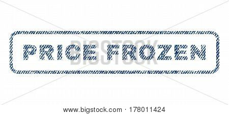 Price Frozen text textile seal stamp watermark. Blue jeans fabric vectorized texture. Vector caption inside rounded rectangular banner. Rubber emblem with fiber textile structure.