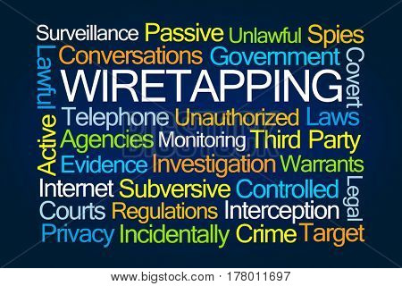Wiretapping Word Cloud on Blue Background