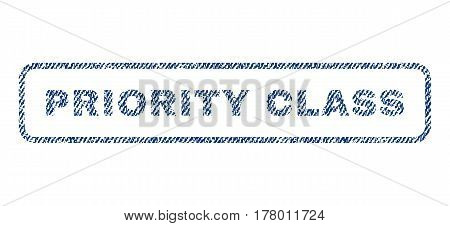 Priority Class text textile seal stamp watermark. Blue jeans fabric vectorized texture. Vector tag inside rounded rectangular shape. Rubber emblem with fiber textile structure.