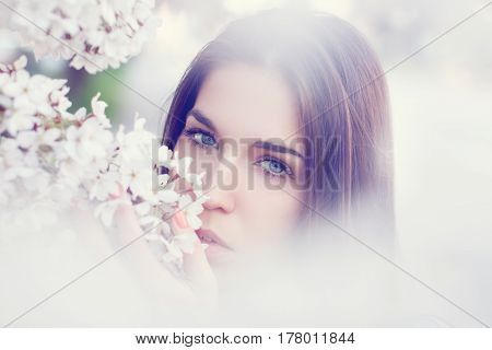 Young woman smell cherry tree blossom outdoor portrait