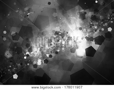 Glowing nebula in deep space with pentagon particles computer generated abstract intensity map 3D rendering