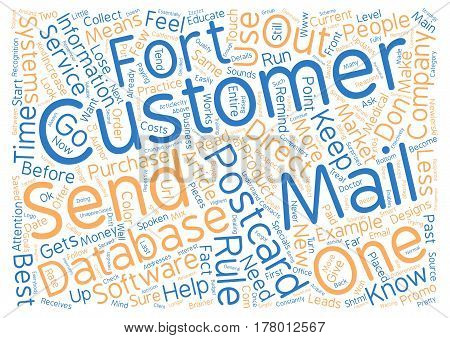 Direct Mail Postcard Rules text background word cloud concept