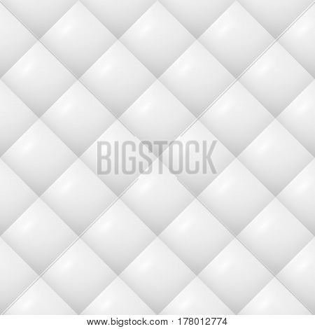 Quilted Pattern Vector. White Soft Neutral Background