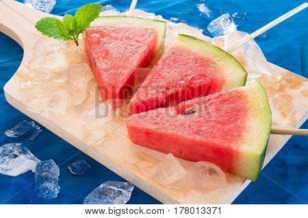 Piece Of Water Melon On Chopping Board.