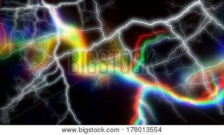 Multitude of colorful lightnings striking everywhere 3d rendering