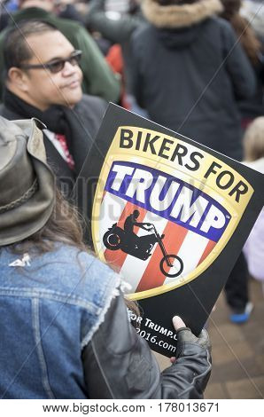 45th Presidential Inauguration, Donald Trump: Bikers for Trump sign held up on the Presidential Parade route, Pennsylvania Ave, NW DC, WASHINGTON DC - JAN 20 2017