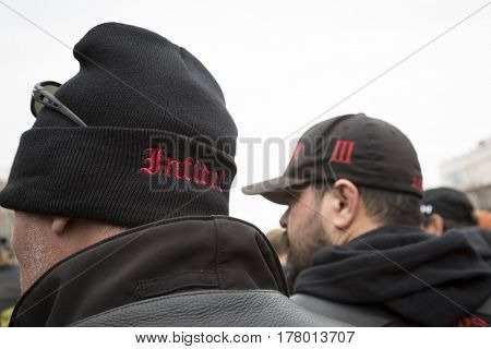45th Presidential Inauguration, Donald Trump: Bikers for Trump from various motorcycle clubs at security checkpoint, WASHINGTON DC - JAN 20 2017
