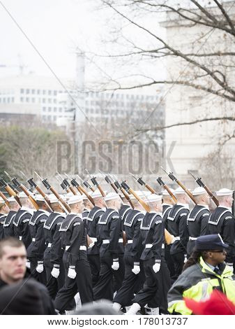 45th Presidential Inauguration, Donald Trump: US Navy personnel march in the Presidential Parade on Pennsylvania Ave in NW, WASHINGTON DC - JAN 20 2017