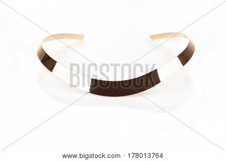 Golden choker isolated on white with reflection