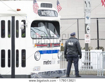 45th Presidential Inauguration, Donald Trump: Vintage Washington DC Metro Bus serves as a parade vehicle, WASHINGTON DC - JAN 20 2017