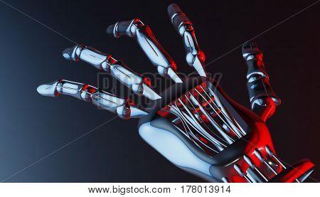 Robotic mechanical cybernetic metal arm. 3d rendering