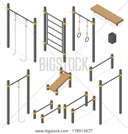 Sport park constructor. Outdoor athletic gym equipment isolated on white. Isometric vector illustration