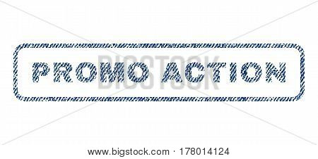 Promo Action text textile seal stamp watermark. Blue jeans fabric vectorized texture. Vector caption inside rounded rectangular banner. Rubber sign with fiber textile structure.