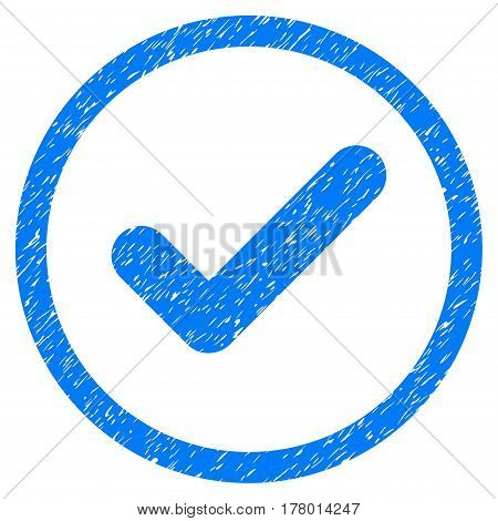 Yes grainy textured icon inside circle for overlay watermark stamps. Flat symbol with unclean texture. Circled dotted vector blue ink rubber seal stamp with grunge design on a white background.