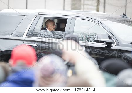 45th Presidential Inauguration, Donald Trump: Tom Barrack, chairman of the Presidential Inaugural Committee, Presidential Motorcade on Pennsylvania Ave, NW, WASHINGTON DC - JAN 20 2017