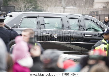 45th Presidential Inauguration, Donald Trump: Presidential Motorcade Route on Pennsylvania Ave, NW, WASHINGTON DC - JAN 20 2017