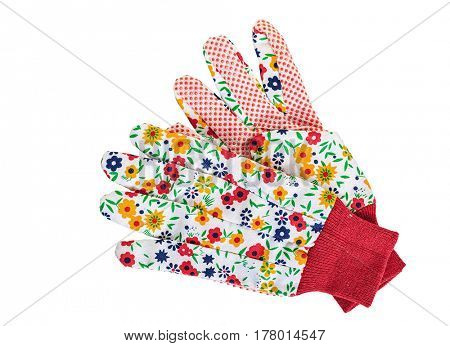 Pretty floral gardening gloves on a white background.