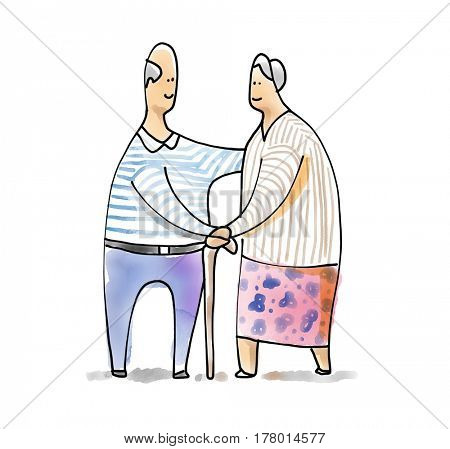 Retirement couple elder enjoying pension insurance happily. Watercolor illustration