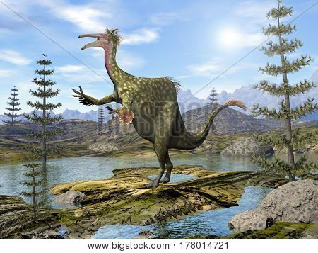 Deinocheirus dinosaur walking among ponds calamites trees by day - 3D render