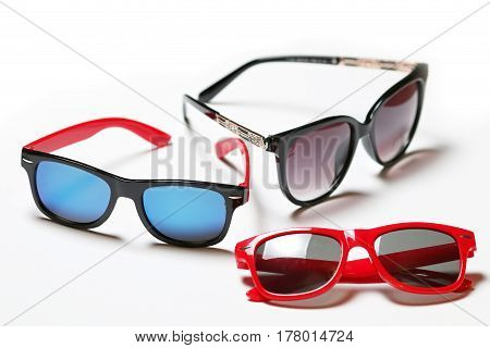 Cool Collection Sunglasses isolated on white Background