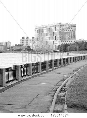 Embankment Obukhov Defense on outskirts of St.Petersburg Russia. Black and white.