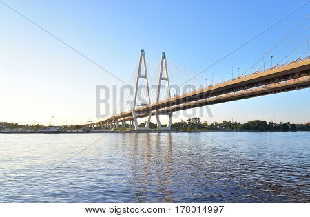 Cable stayed bridge and Neva river on the outskirts of St. Petersburg Russia.