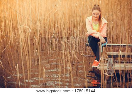 Woman Runner Resting After Workout Run