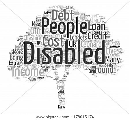 Disabled In Debt Word Cloud Concept Text Background