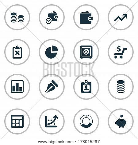 Vector Illustration Set Of Simple Finance Icons. Elements Billfold, Piggy Bank, Spending And Other Synonyms Progress, Segmentation And Math.