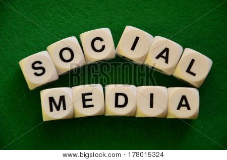 word social media ona  abstract  green background
