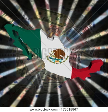 Mexico map flag on currency burst 3d illustration