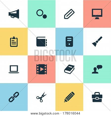 Vector Illustration Set Of Simple Icons Icons. Elements Assessment, Display, Settings And Other Synonyms Flashlight, Trim And Appliance.