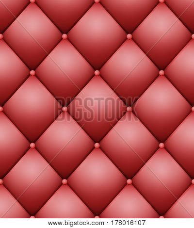 Quilted Pattern Vector. Vintage Buttoned Leather Stylish