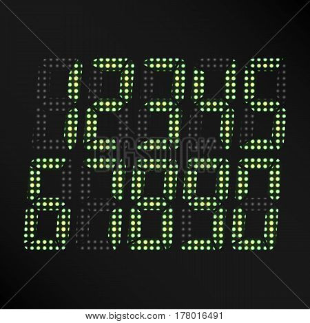 Digital Glowing Numbers Vector. Set Of Digital Green Numbers On Black Background. Classic Symbol Of time. Retro Clock, Count, Display