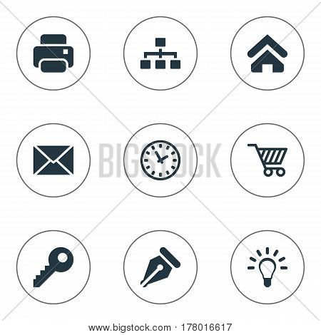 Vector Illustration Set Of Simple Business Icons. Elements Letter, Relationship, House Location And Other Synonyms Shopping, Letter And Idea.