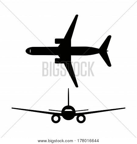 Passenger airplanes icons isolated on white background. Vector illustration