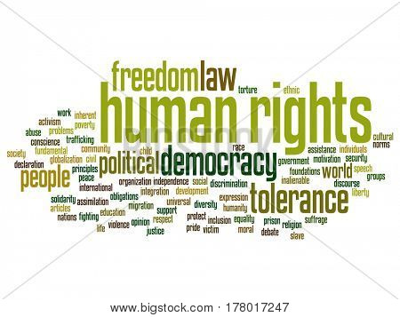 Concept or conceptual human rights political freedom or democracy abstract word cloud isolated on background