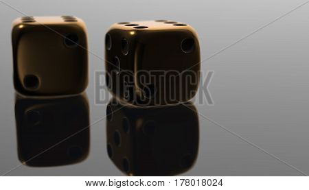 3d golden poker two dice, reflection on black background, 3d rendering