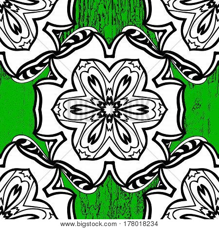 Damask pattern repeating background. White green floral ornament in baroque style. Antique white repeatable sketch.White element on green background.