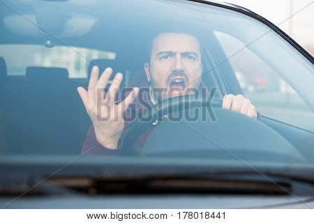 Rude Man Driving His Car And Arguing A Lot