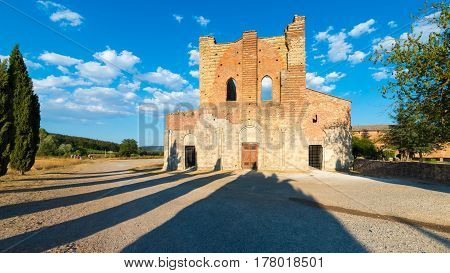 Medieval Abbey of San Galgano from 13th century near Siena Tuscany Italy - example of romanesque architecture in Tuscany