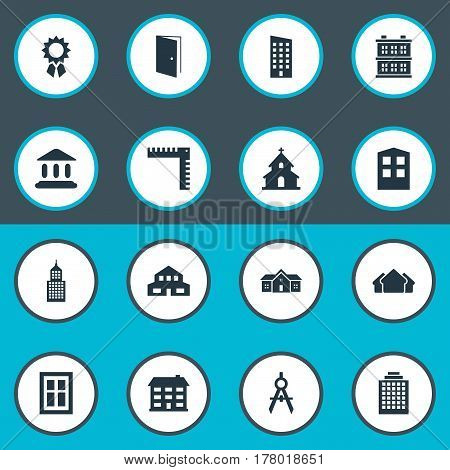 Vector Illustration Set Of Simple Architecture Icons. Elements Structure, Residential, Glazing And Other Synonyms Shanty, Hut And Building.